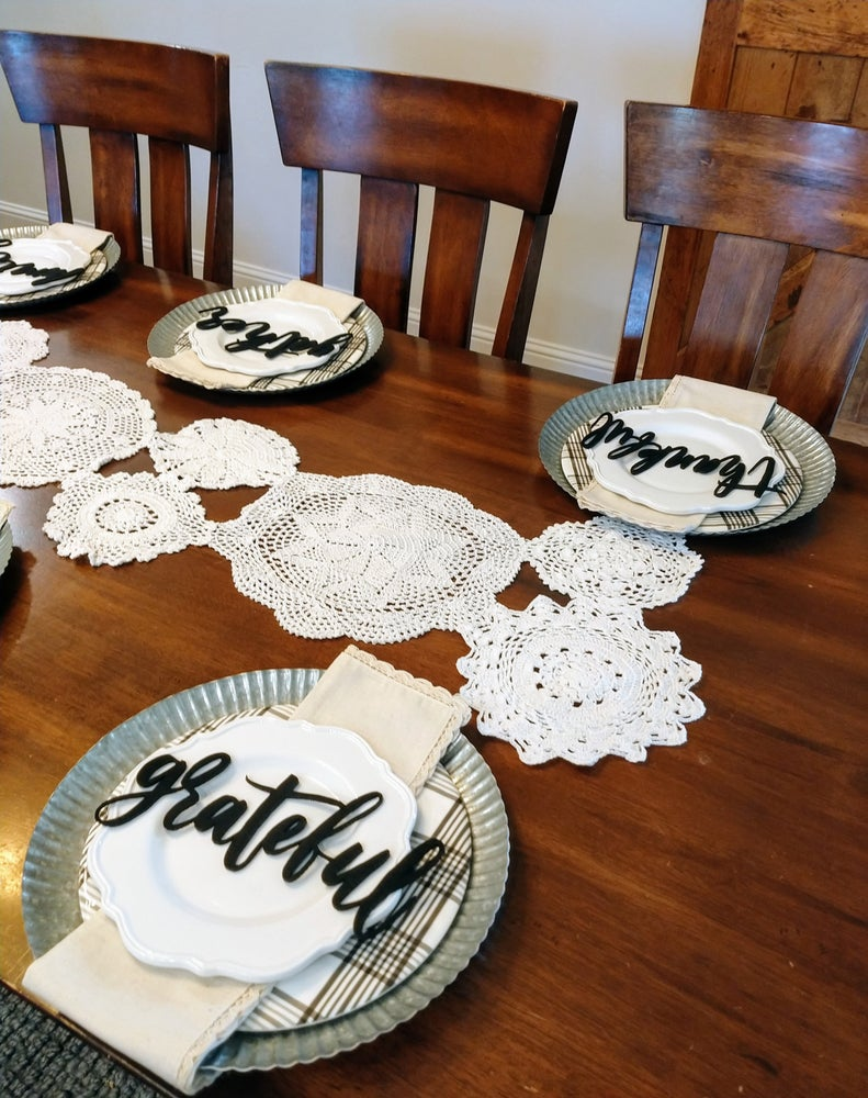 Image of Farmhouse Tabletop Plate Topper Words | 6 Styles {Free Ship}