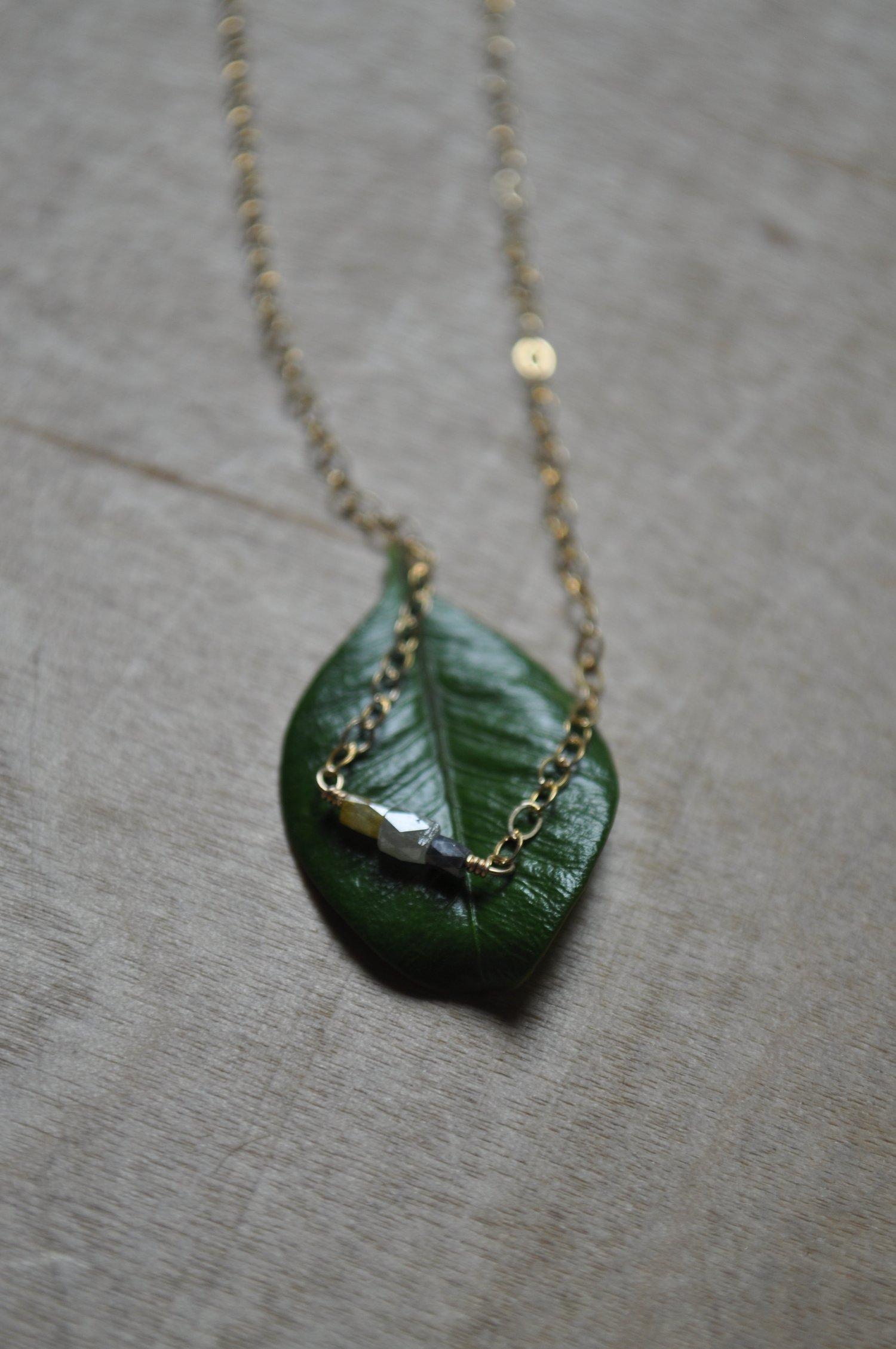 Image of Teeny Tiny Natural Diamond Trio Necklace