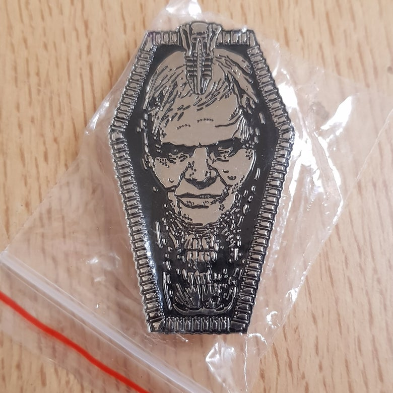 Image of Biomechanoid tribute to HR.Giger limited edition shaped enamel pin