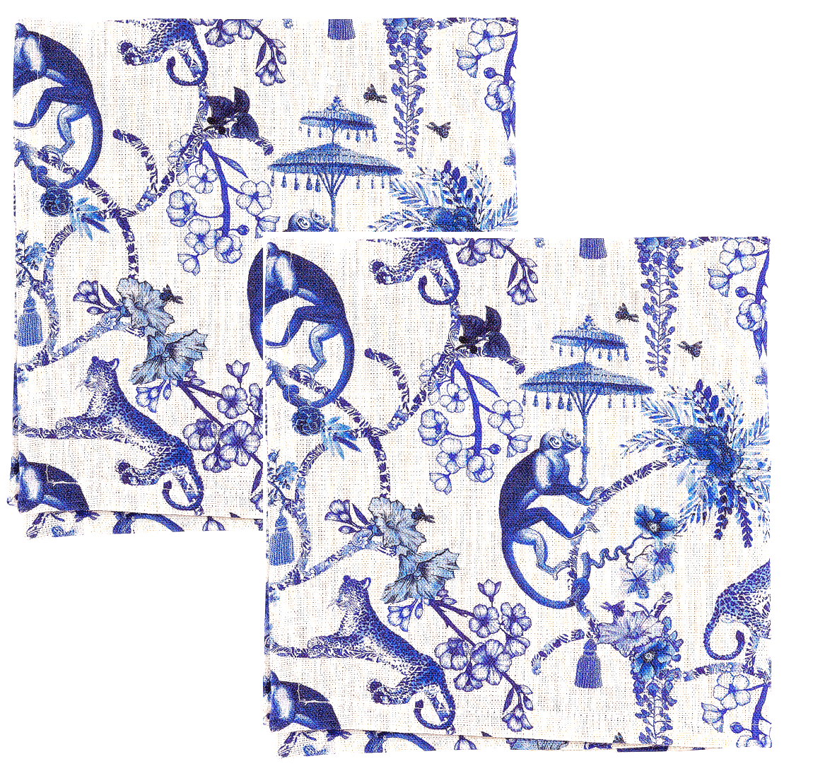 Image of Set di 2 tovaglioli in lino Blu Chinoiserie - Blue Chinoiserie linen napkins set of 2