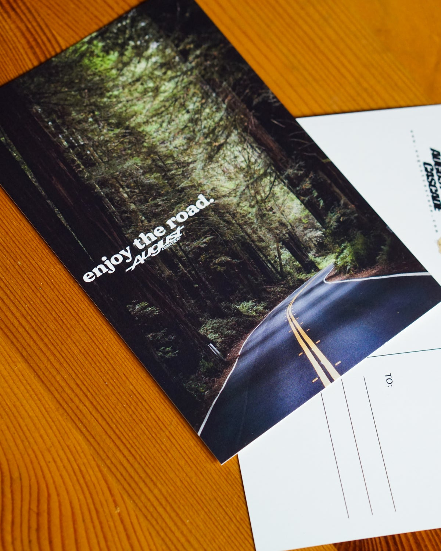 enjoy the road. postcard