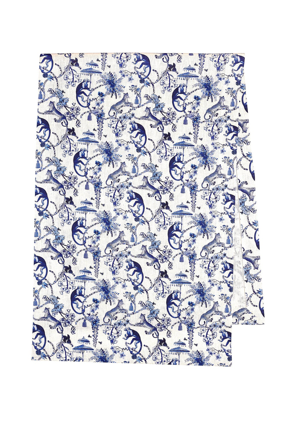 Image of Runner in lino Blu Chinoiserie - Blue Chinoiserie linen table runner