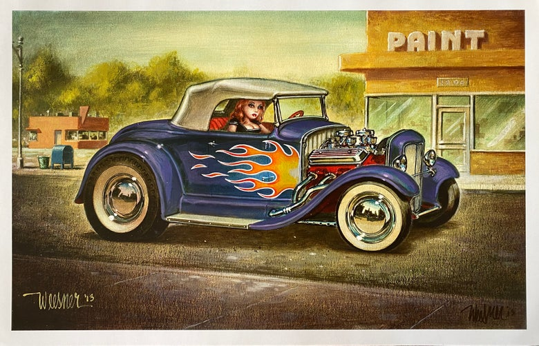 "Image of Modified ""Soft Top"" Print, Purple w Flames"