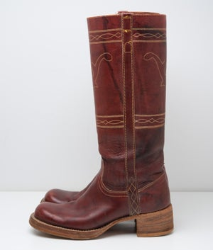 Image of Vintage Womens Frye Campus tall leather boots Burgundy Color 7.5 B with 2 inch heels Style #8175