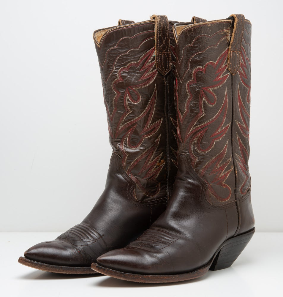 Image of Vitnage Custom Made Texas Brown Leather Cowboy Boots Mens Size 8D EE,  M.L. Leddy?