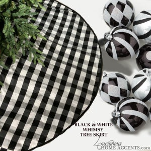 Image of Black and White Theme Christmas Tree Skirt