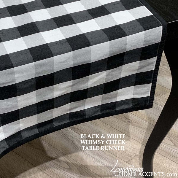 Image of Black and White Check Table Runner