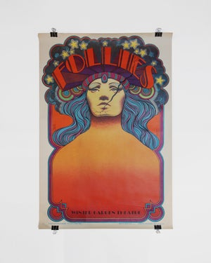 Vintage Original Broadway Follies Winter Garden Theatre David Edward Byrd Lithograph Poster ca. 1970