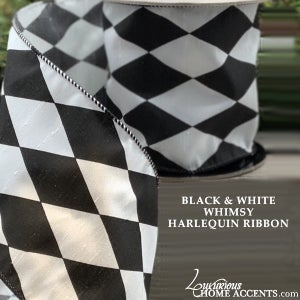 Image of Black and White Harlequin Ribbon