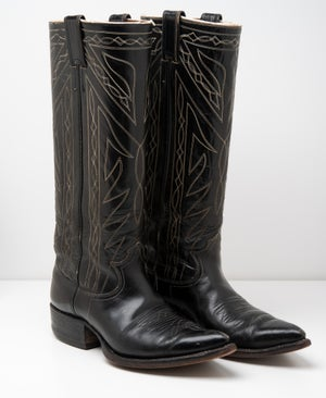 Image of Nocona 1950's Black Leather Cowboy Boots with white stitching  Western Boots Mens size 7.5C