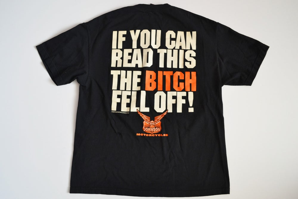 "Image of Vintage 1998 Big Johnson Motorcycles ""She Fell Off"" T-Shirt Sz.XL"