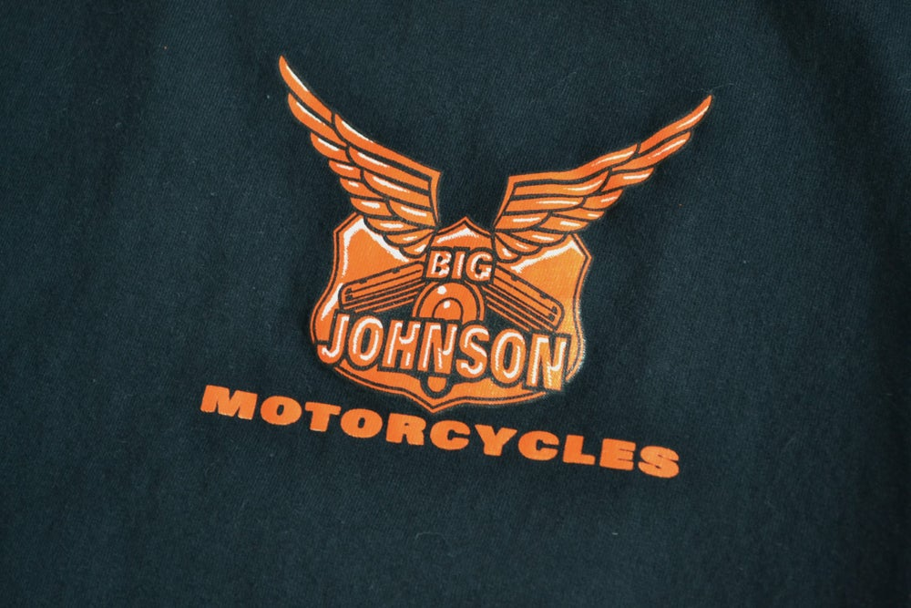 "Image of Vintage 1998 Big Johnson Motorcycles ""I Don't Fall Off"" T-Shirt Sz.L"