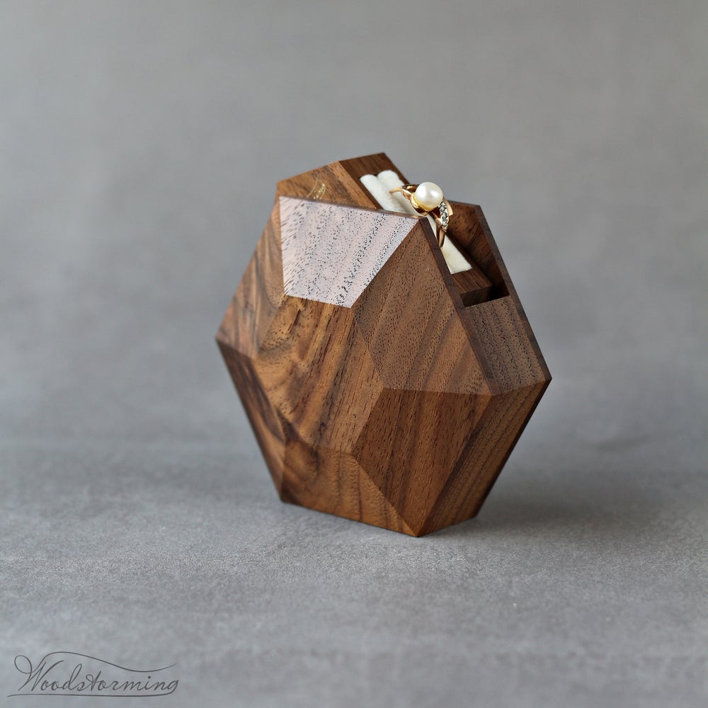Image of Rotating hexagon proposal ring box by Woodstorming - ready to ship