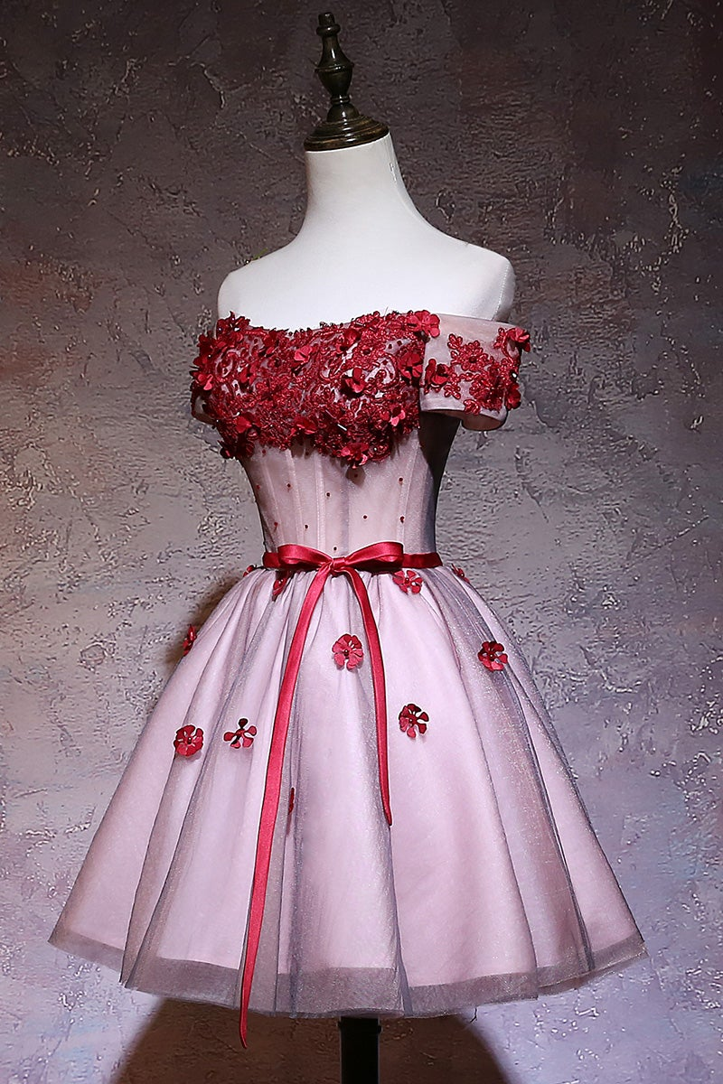 Lovely Knee Length Off Shoulder Tulle Party Dress, Pink Homecoming Dress