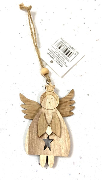 Image of Hanging Wooden Christmas Angel