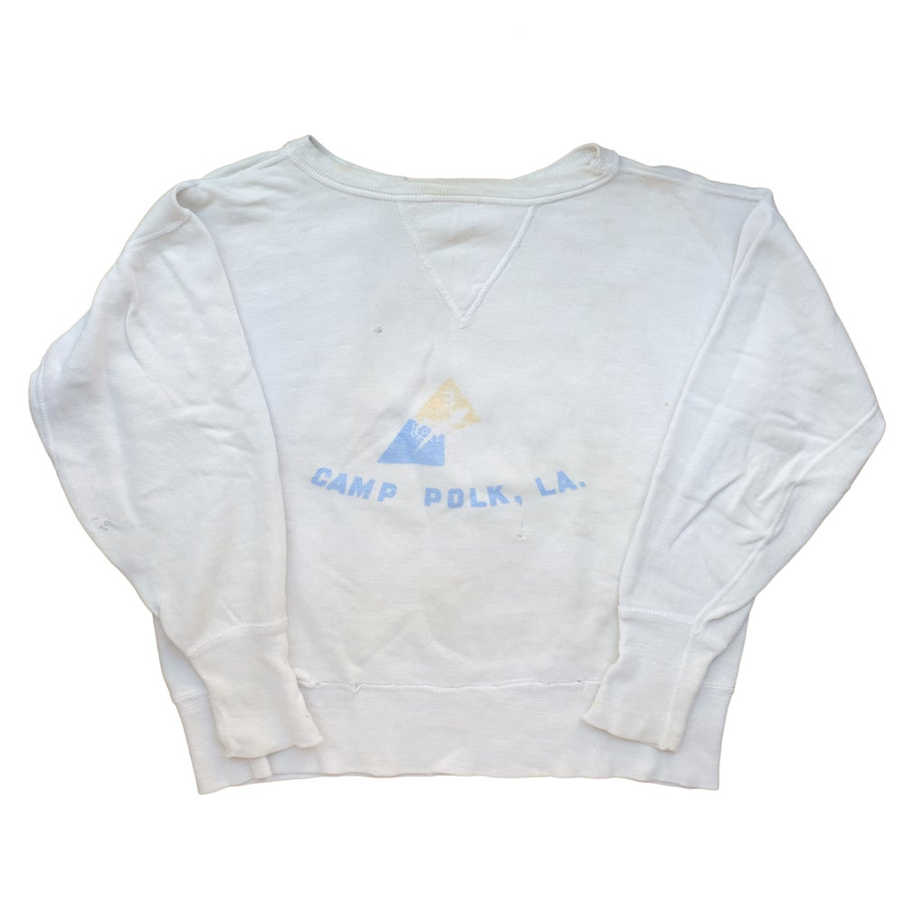 Image of 1950's Velva Sheen Camp Polk U.S. Army Sweatshirt