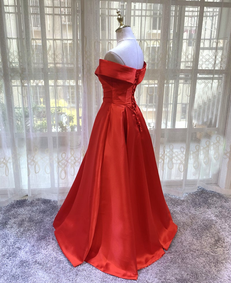 Red Satin Off Shoulder Sweetheart Long Prom Dress, Red Party Dress