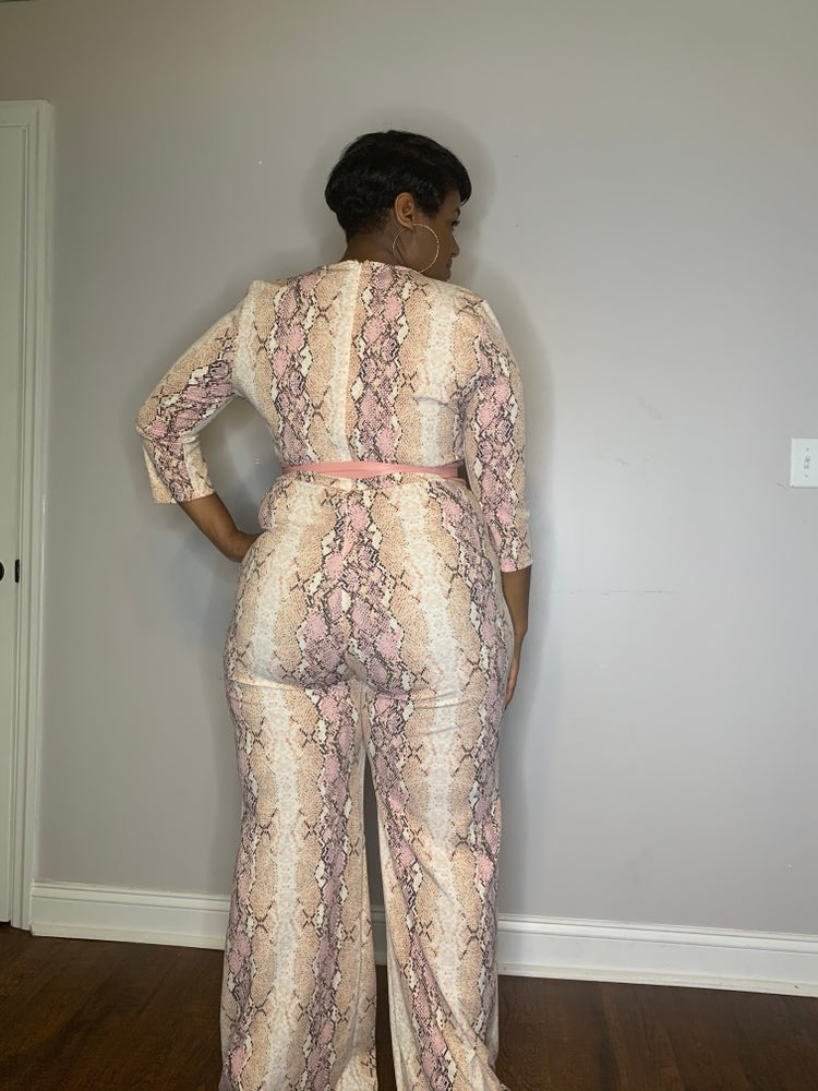 Image of Chrissy's slithering jumpsuit (belt not included)