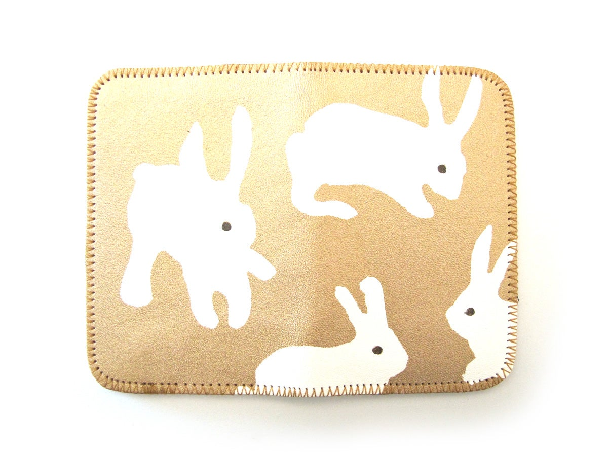 Image of Gold Rabbits Card Holder