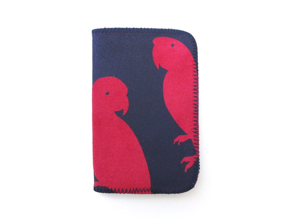 Image of Red Parrots Card Holder