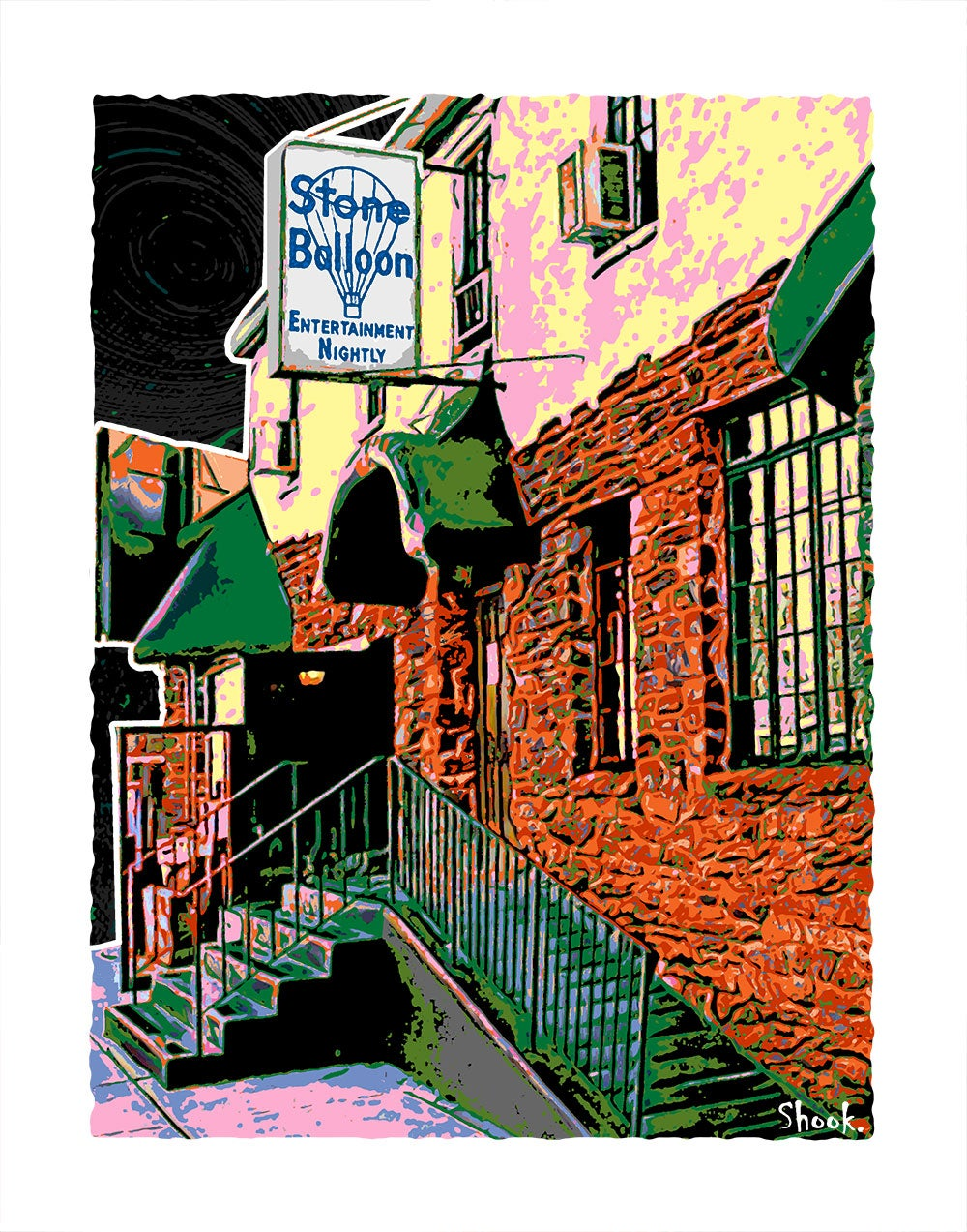 "Stone Balloon Newark DE Giclée Art Print - 11"" x 14"""