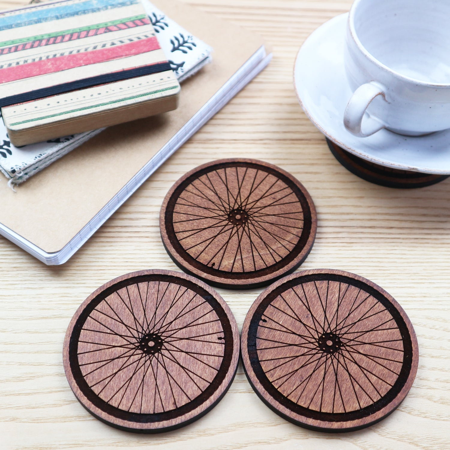 Image of Bicycle Wheel Drinks Coasters - Set of 4, Gift Boxed