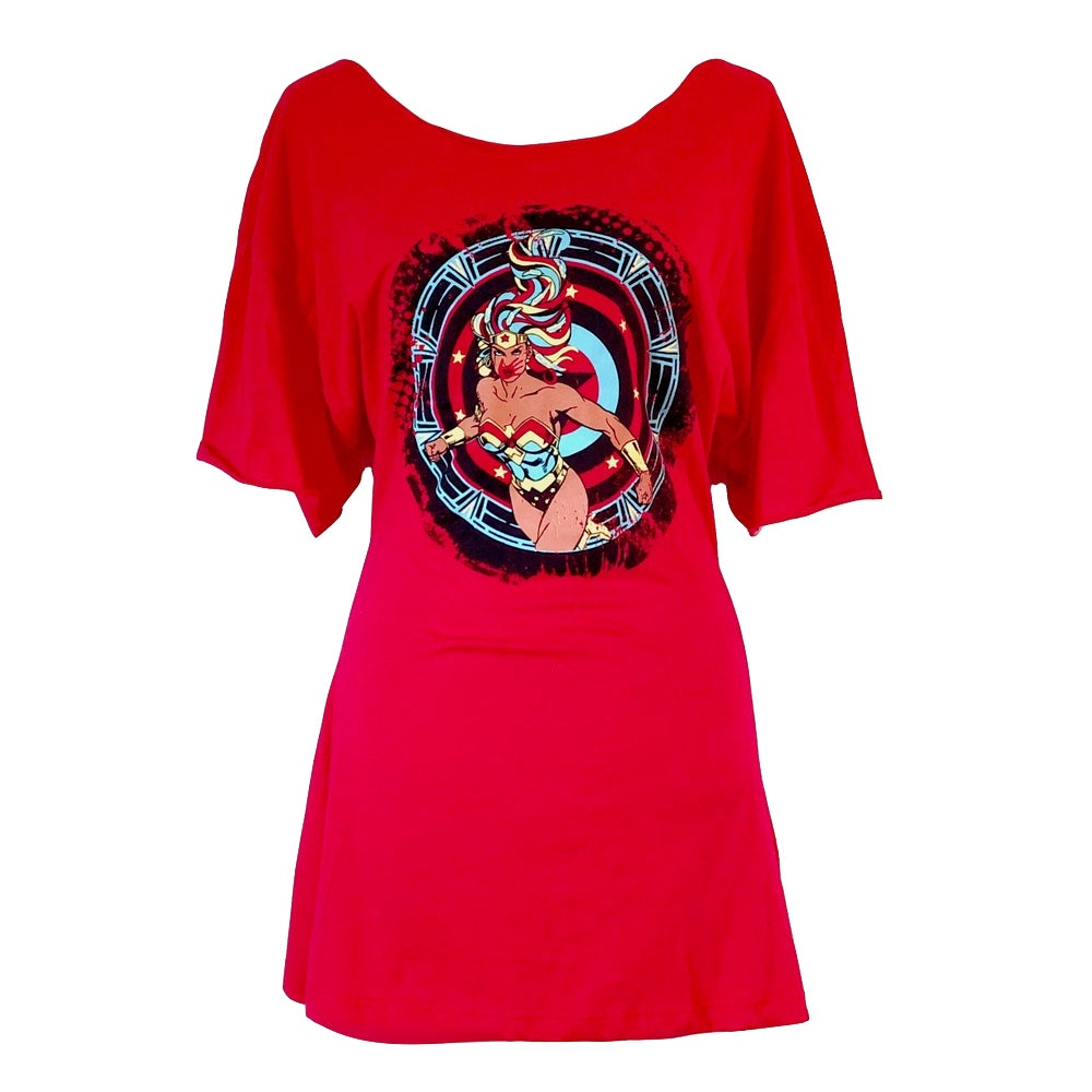 Image of Red Super Power T-Shirt Dress