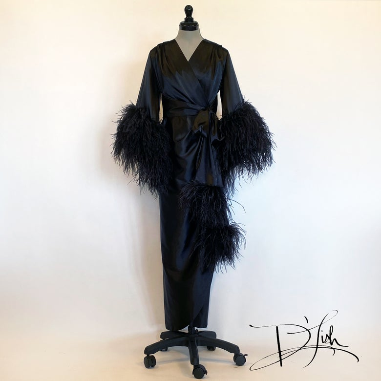 "Image of Black ""Selene"" Dressing Gown 10% Off Discount Code: BLACKSELENE10"
