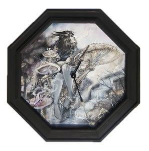 "Image of Framed ""Delirium"" Original Clock Painting"