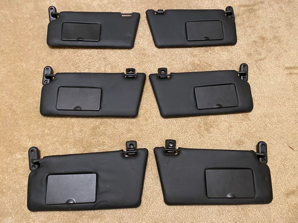 Image of Ford Focus 2000-2019, Mustang - BLACK Vinyl Sun Visors (2) with connectors/clips