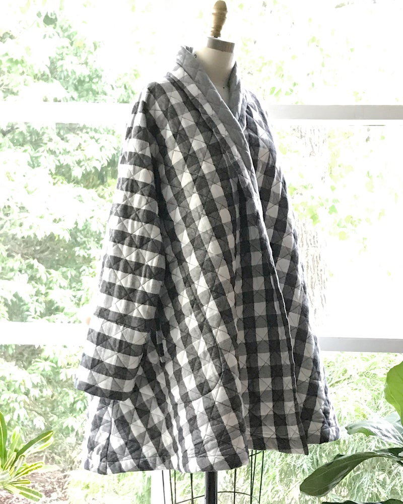 Image of Plaid Quilted Swing Coat