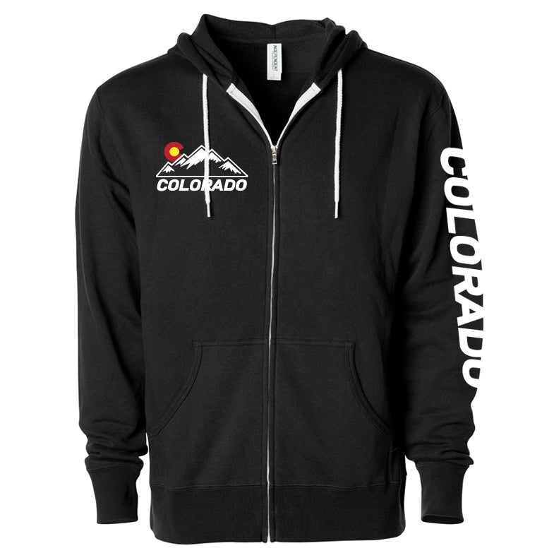 Image of COLORADO STATE CHEST LOGO BLACK ZIP UP HOODIE