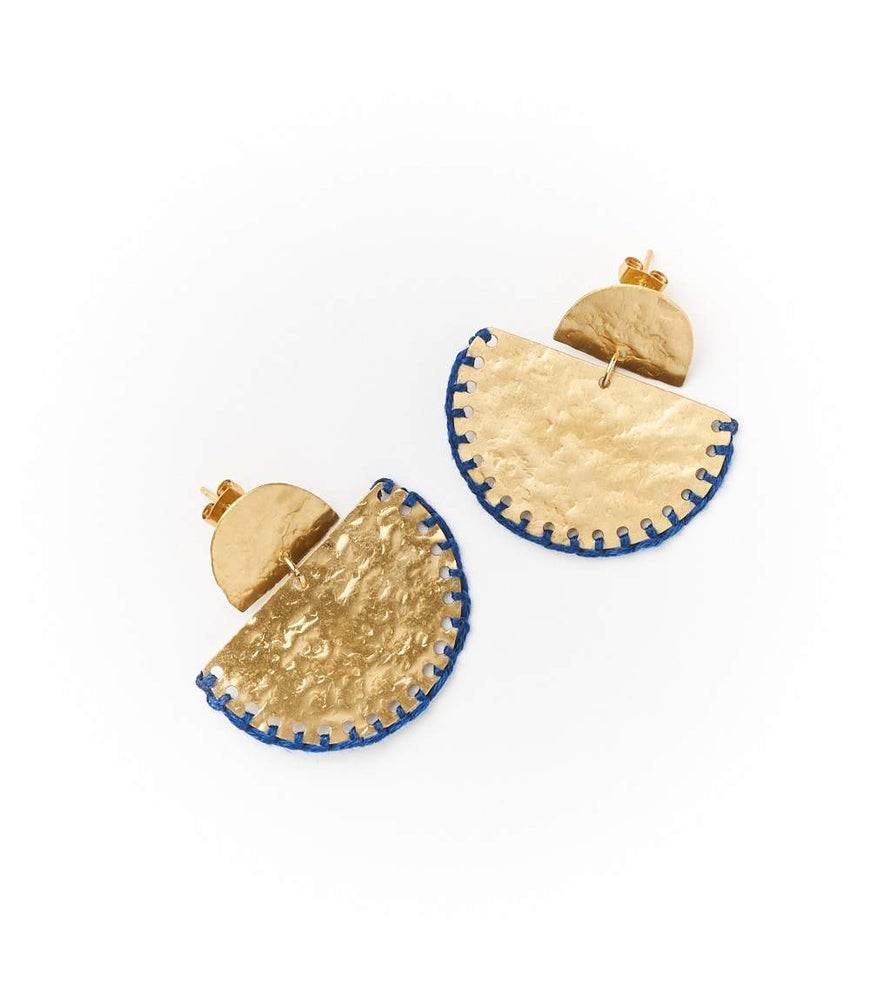 Image of Indigo Stitched Jayanti Stud Earrings