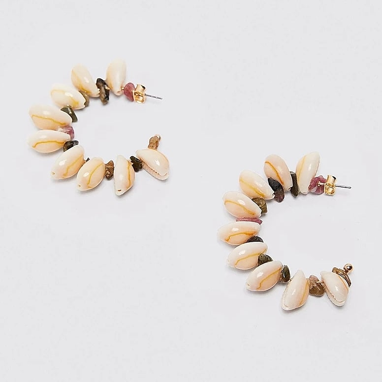 Image of COWRIE SHELL HALF HOOP - EARRINGS
