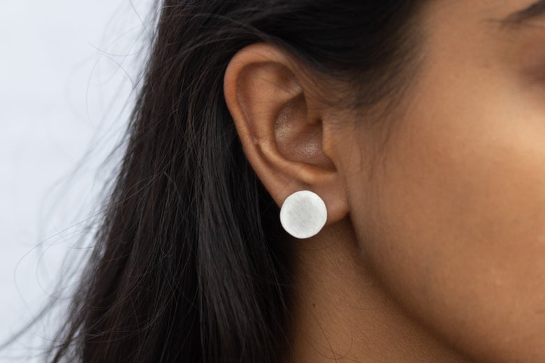 Image of Large Full Moon Silver Disc Earrings