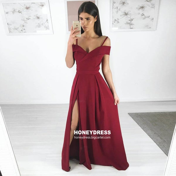 Image of Spaghetti Strap Wine Red Off-the-Shoulder A-Line Prom Dresses With Side Slit