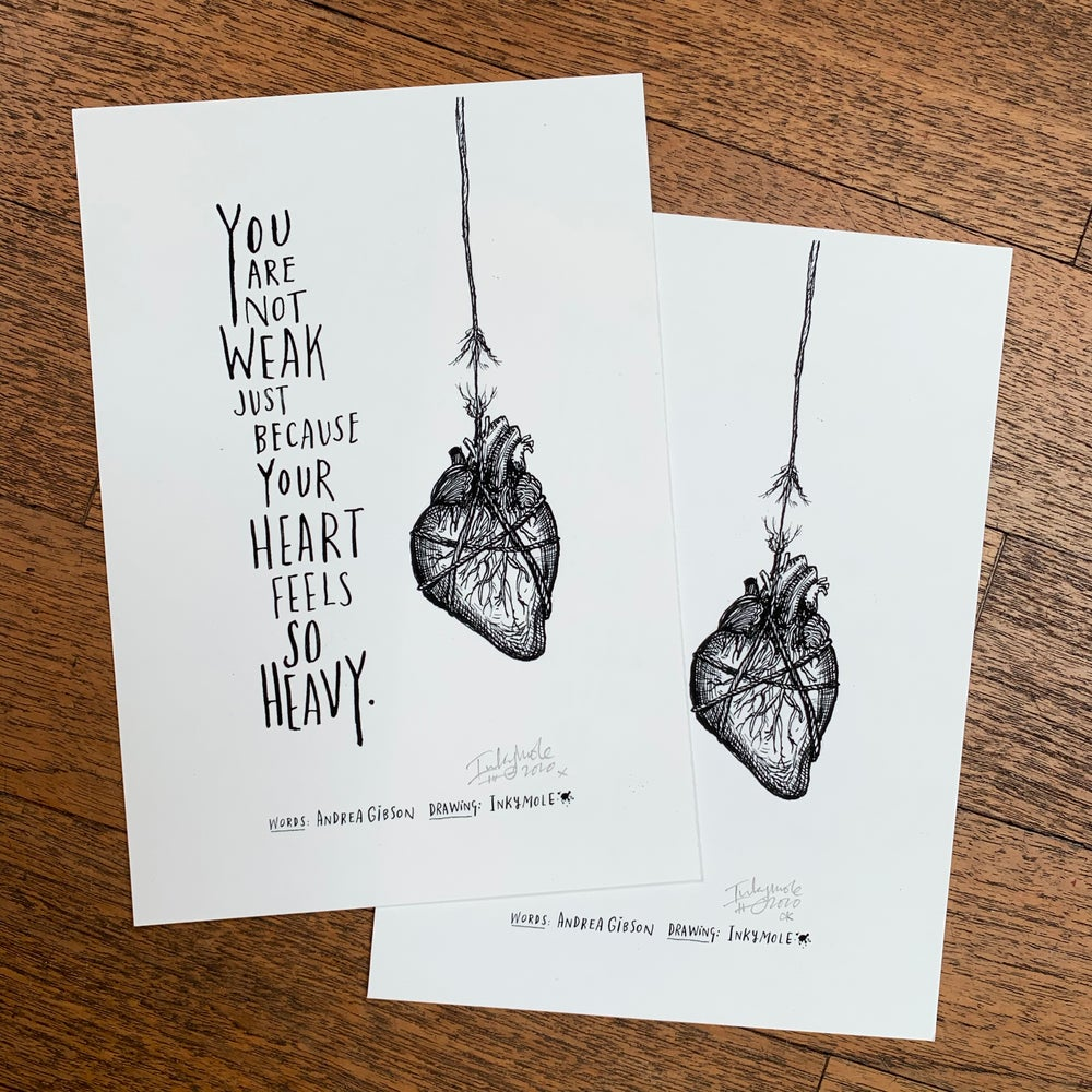 Image of Andrea Gibson Little Print: 'Heavy Heart' / A5