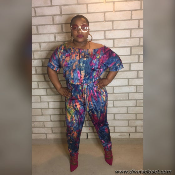 Image of Plus Multi Colored Jumpsuit