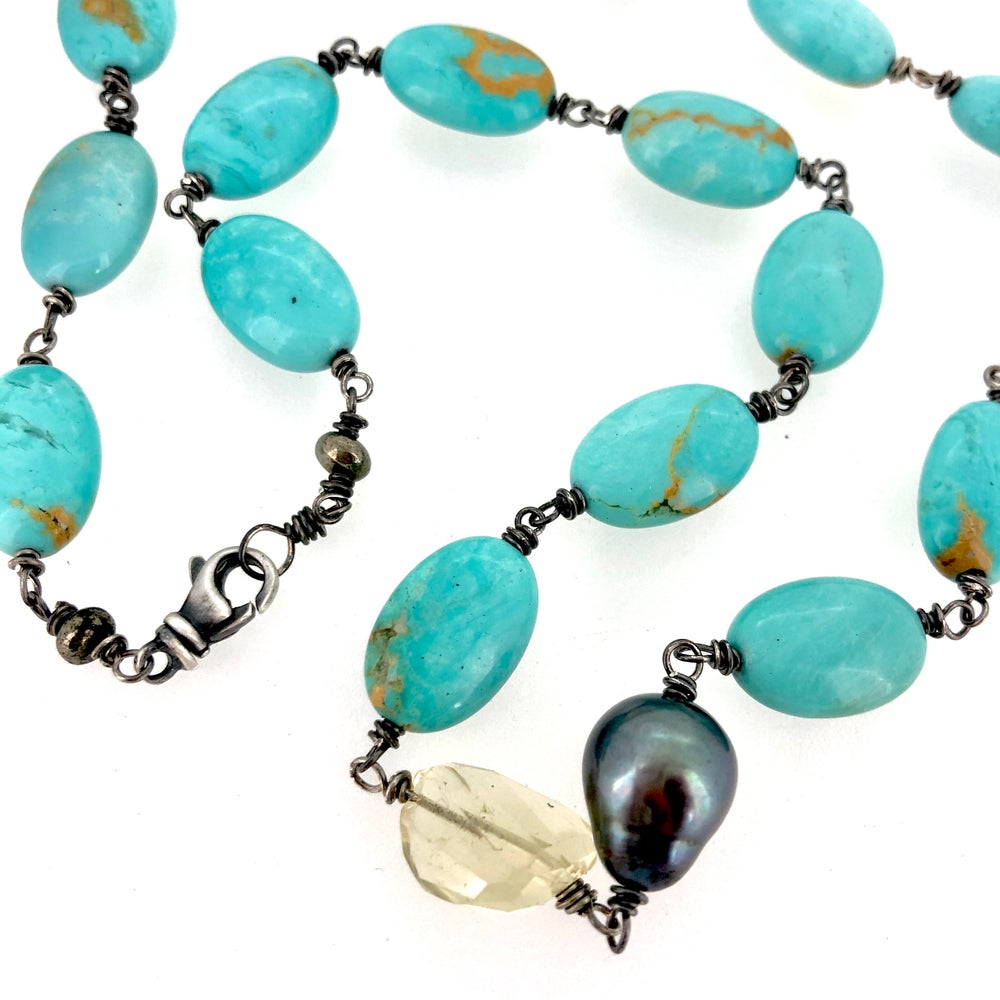 Image of Campitos turquoise wire wrapped necklace