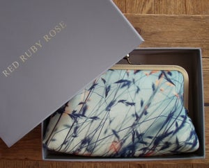 Image of Stipa grasses, printed silk clutch bag