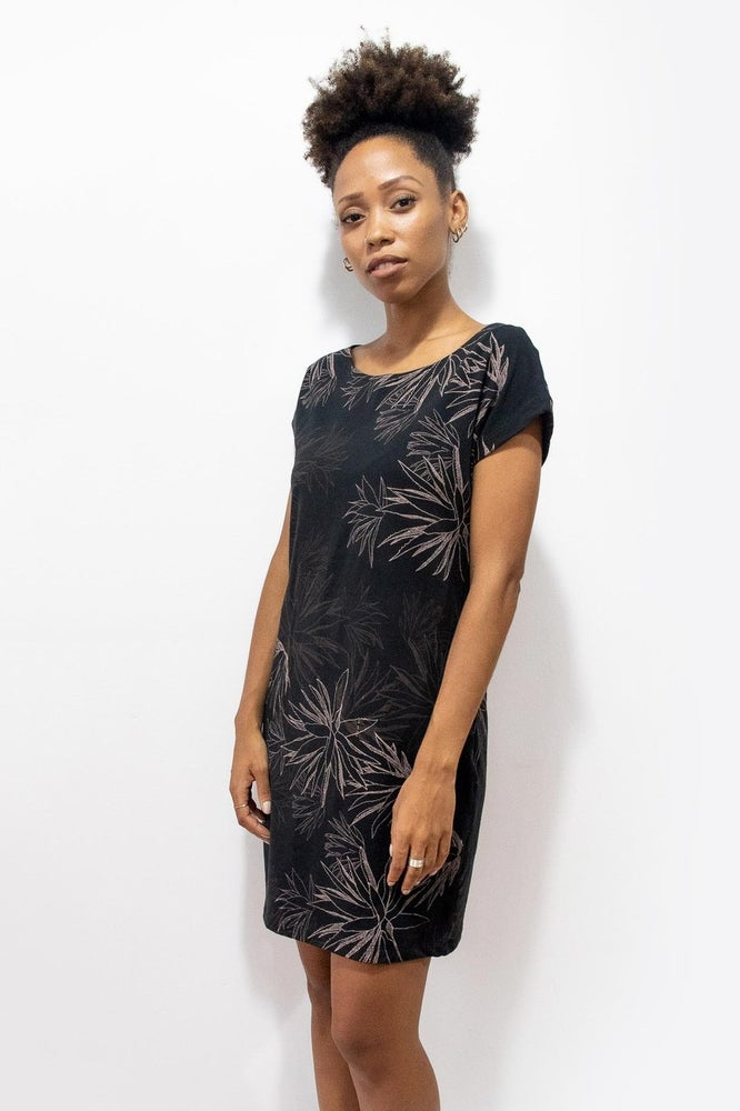 Image of Black Palm T-Shirt Dress