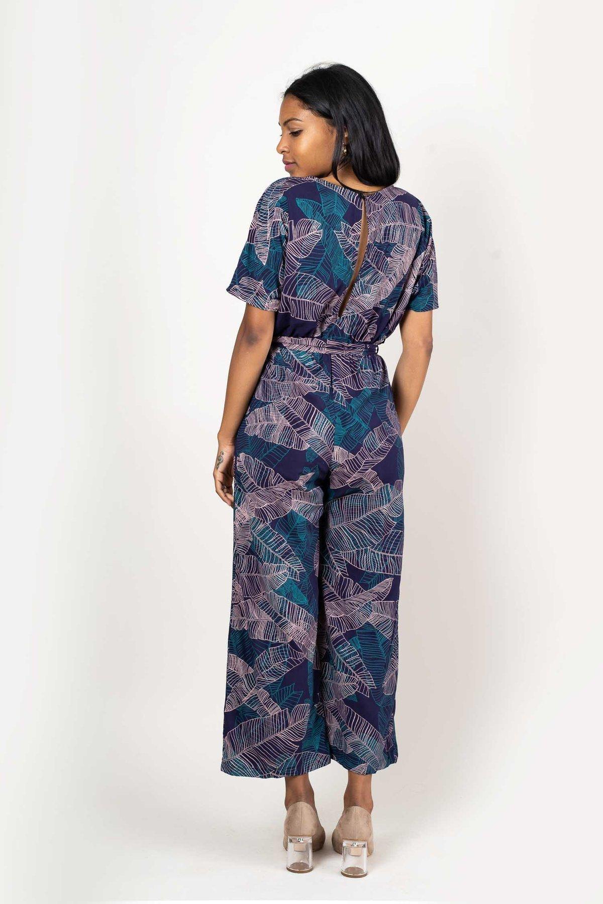 Image of Rachana Navy Palm Print Jumpsuit