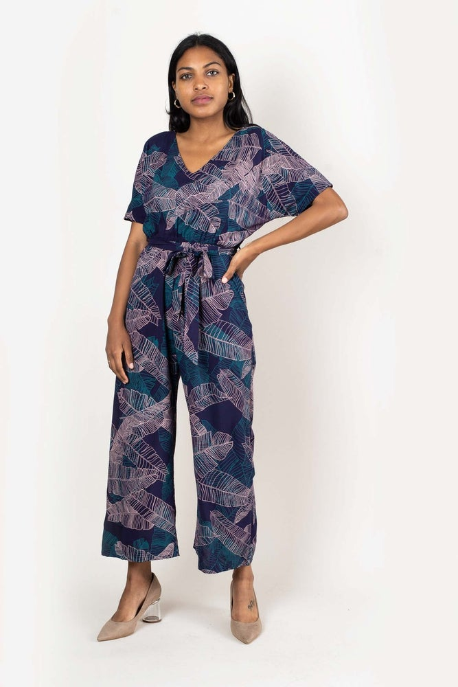 Image of Rachana Navy Palm Print Jumpsuit