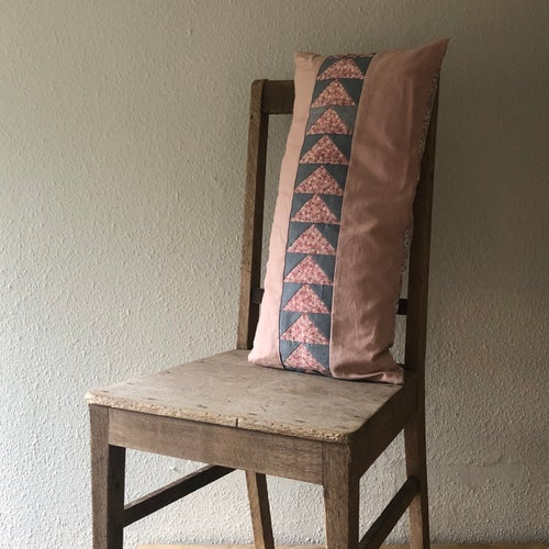 Image of Flying Geese Bolster Cushion in Old Rose