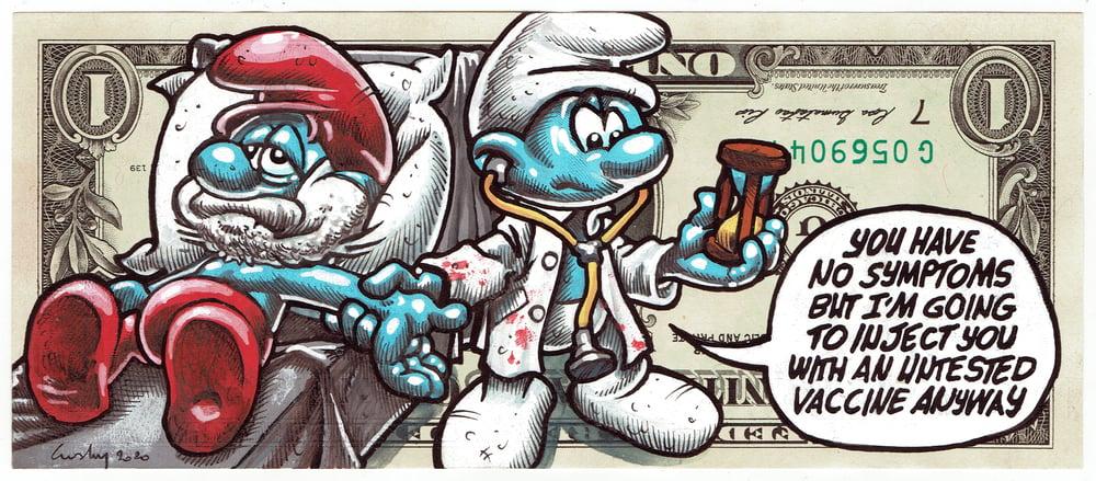 Image of Rare Upside Down Real Dollar Original. Dr Death.