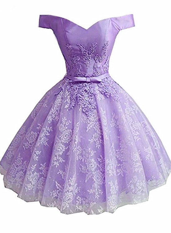 Light Purple Short Lace Homecoming Dress, Off Shoulder Prom Dress