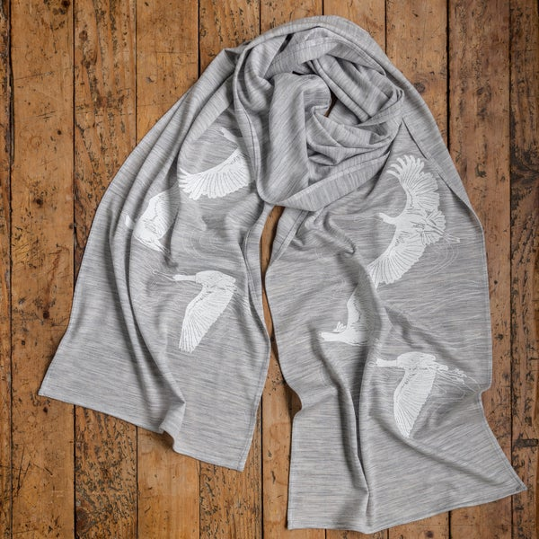 Image of 'Spoonbills' Merino Hand Printed Scarf