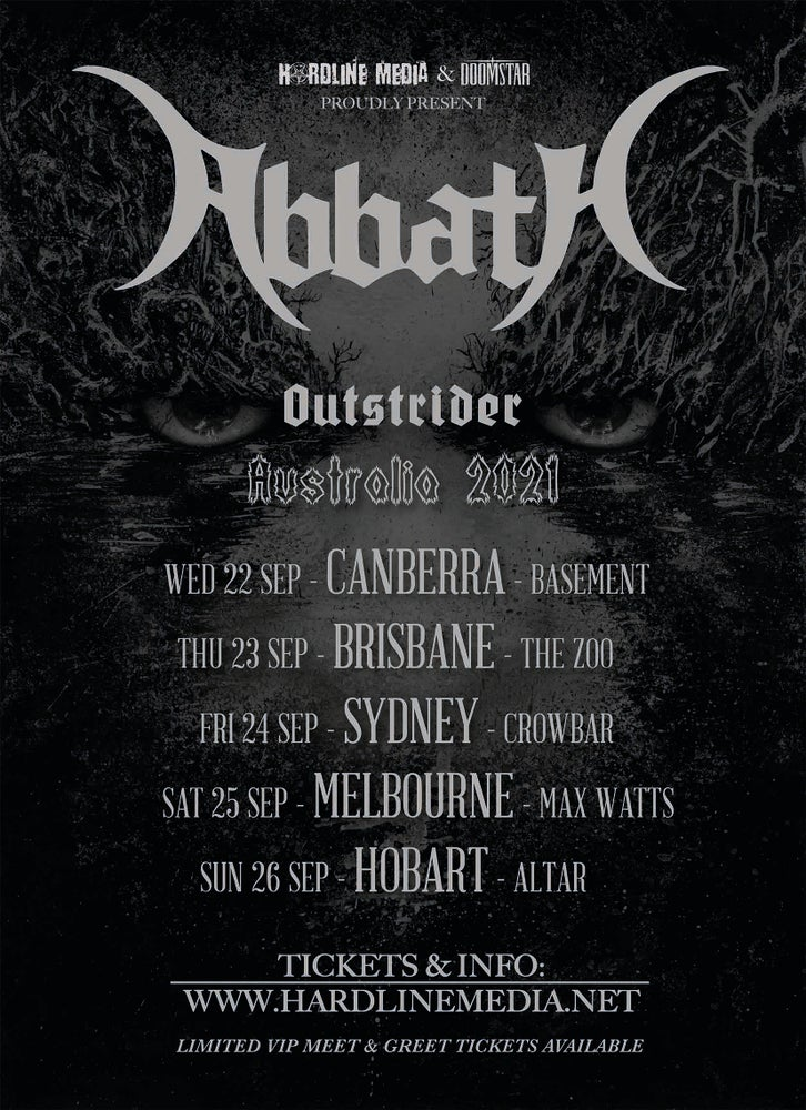 Image of VIP TICKET - ABBATH - CANBERRA, THE BASEMENT - WED 22 SEP 2021