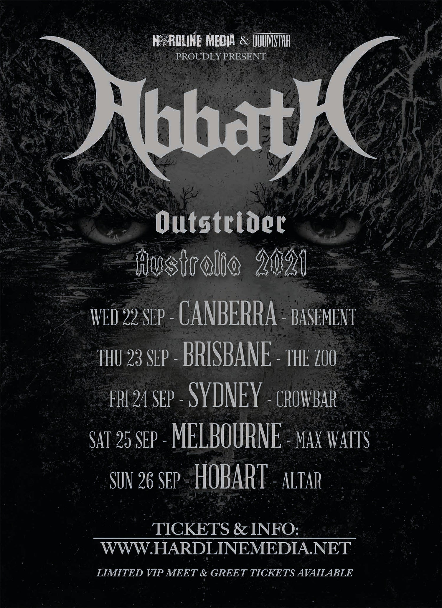 Image of VIP TICKET - ABBATH - MELBOURNE, MAX WATTS - SAT 25 SEP 2021
