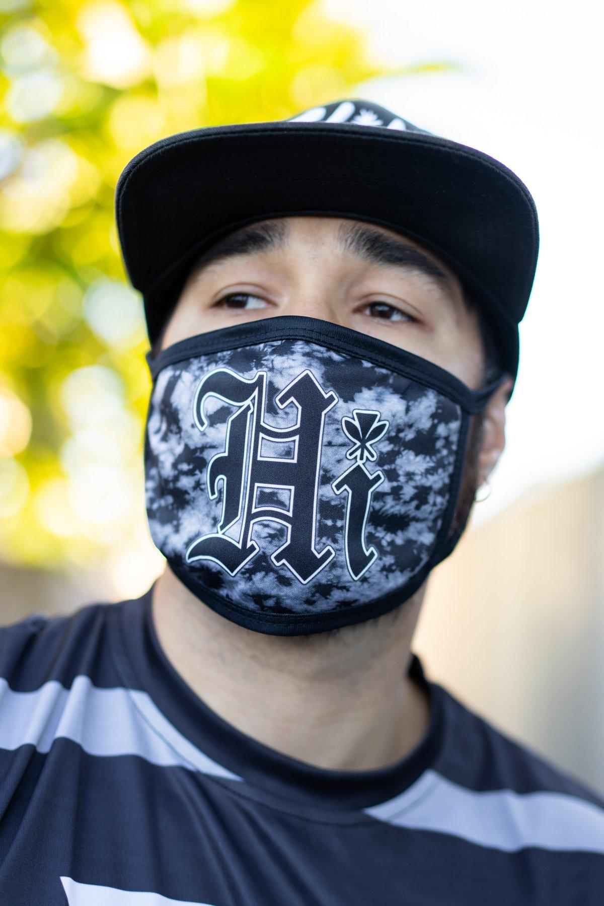 (Larger masks) HI Old English Black Wash-Tie Dye Mask